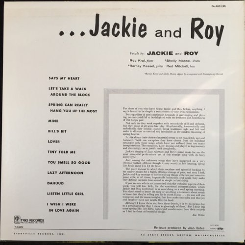 Jackie Cain and Roy Kral - Storyville Presents Jackie and Roy (1974) LP